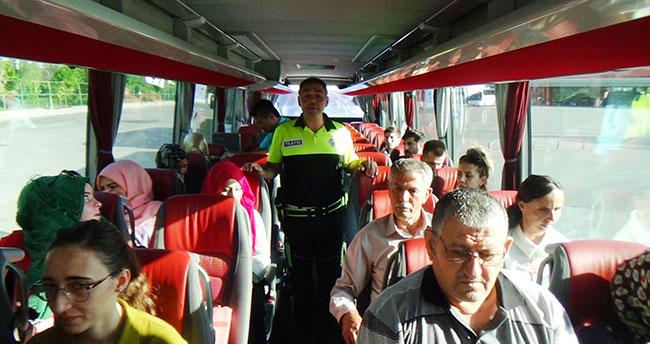 Konya'da şehirlerarası otobüslerde emniyet kemeri denetimi
