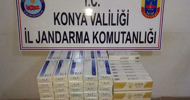 Konya'da yolcu otobüsünde 740 paket kaçak sigara ele geçirildi