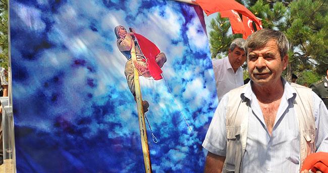 Şehidin bayrak aşkı mezarında ölümsüzleştirildi
