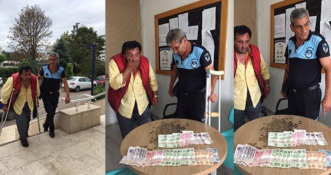 Yakalanınca iyileşen dilenciden 730 lira para çıktı