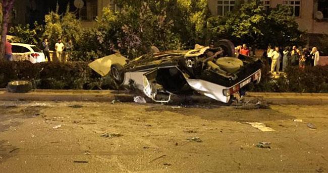 Konya'da feci kaza – Yayaya çarpan otomobil devrildi : 1 ölü, 3 yaralı