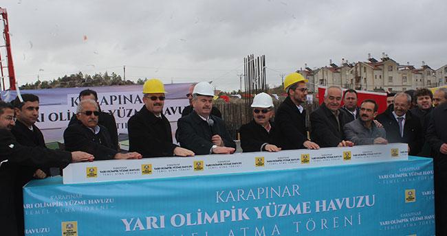 Karapınar Yarı Olimpik Yüzme Havuzu'nun temeli atıldı