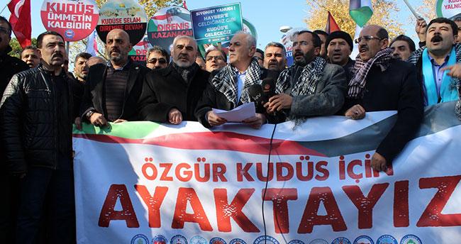 """Konya'da ABD'nin Kudüs'ü """"İsrail'in başkenti"""" olarak tanıması protesto edildi!"""