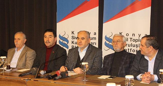 """Konya Sivil Toplum Kuruluşları Platformu'ndan """"Zeytin Dalı Harekatına"""" destek"""