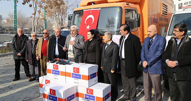 Konya'dan Afrin'deki terör mağdurlarına ayakkabı yardımı