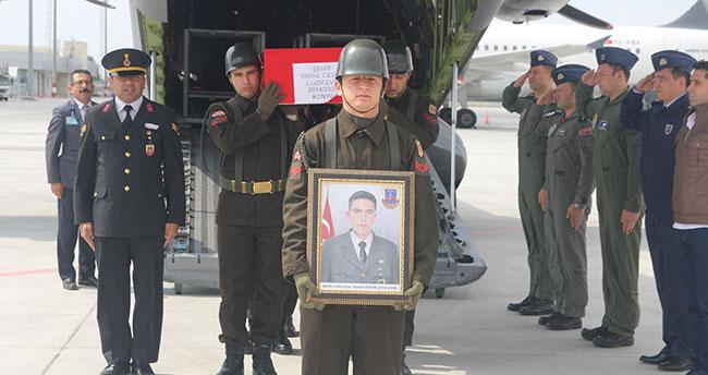 Şehit İsmail Cesur'un cenazesi Konya'ya getirildi