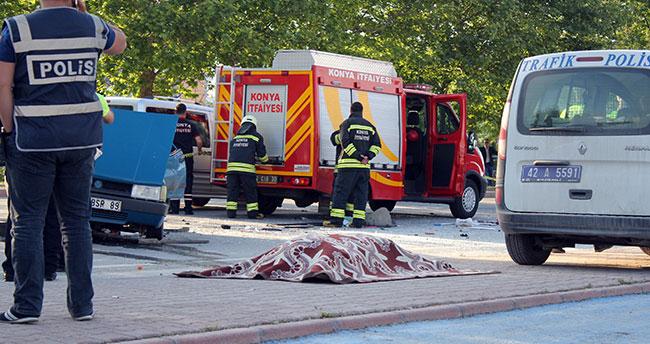 Konya'da zincirleme kazada savrulan otomobil tıra çarptı: 1 ölü