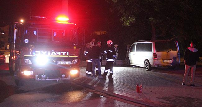Konya'da minibüs yangını