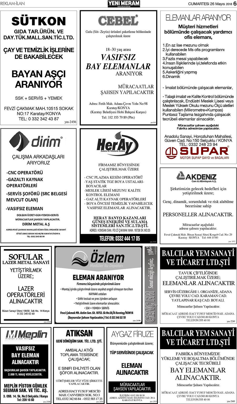 26 Mayis 2018 Yeni Meram Gazetesi Sayfa 6 12 Yeni Meram