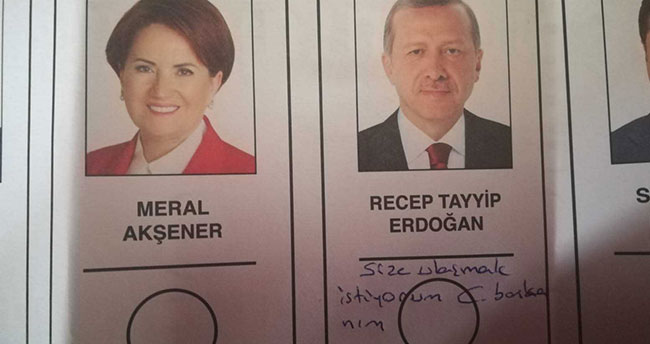 Oy pusulasında Cumhurbaşkanı Erdoğan'a not yazdı