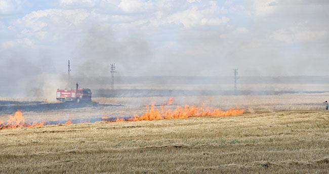 Konya'da anız yangını