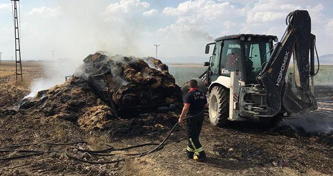 Konya'da saman yüklü kamyon yandı