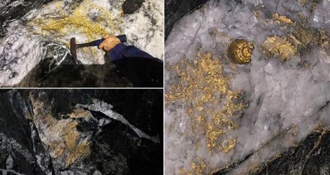 Altın kabuk bağlamış dev kayalar bulundu