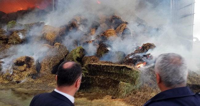 Konya'da besi çiftliğinde yangın