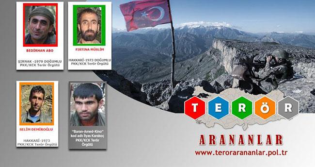 Terörden Arananlar Listesi'nden 8 günde 4 terörist eksildi