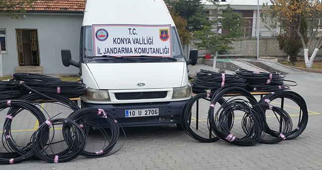 Konya'da kablo hırsızlarına suçüstü