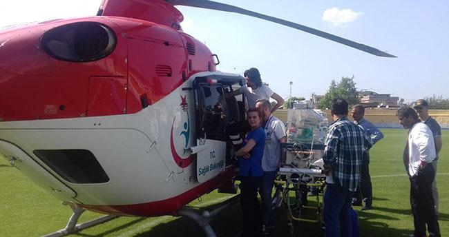 Ambulans helikopter kalp hastası 2 günlük bebeği Konya'ya getirdi