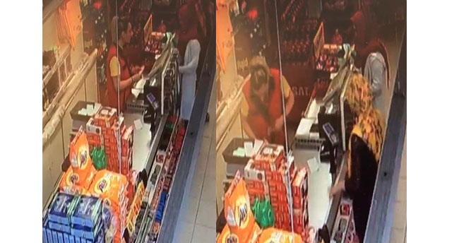 Konya'da marketten tırnakçılık yöntemiyle hırsızlık yapan kadın kamerada
