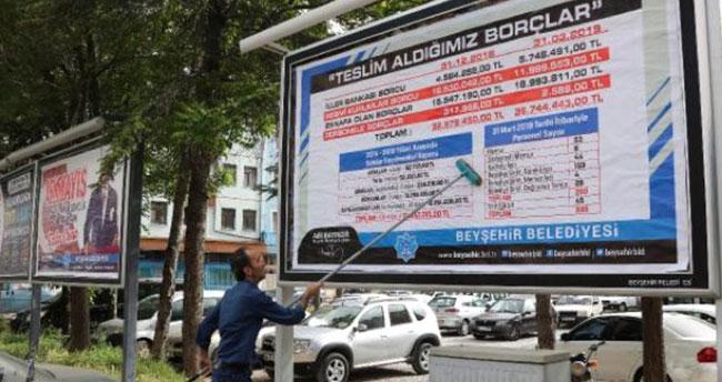 Beyşehir Belediyesi'nin borç tablosu bilboardlarda!