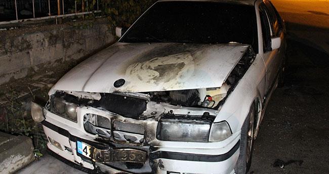 Karaman'da kundaklanan otomobil alev topuna döndü