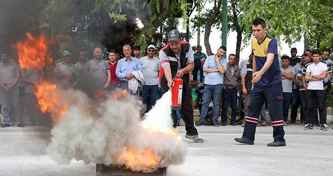 Meram Belediyesi personeline yangın eğitimi verildi