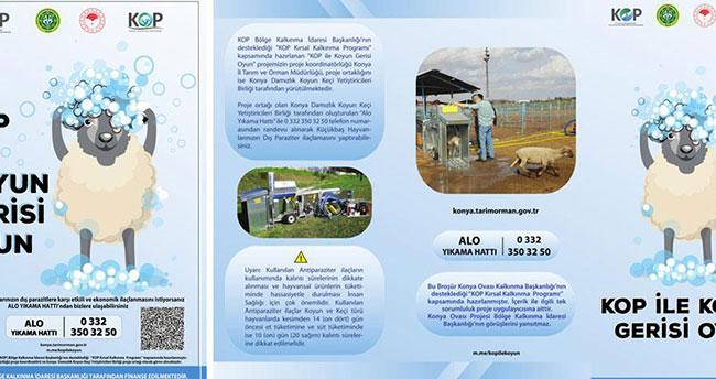 Konya'da koyunlar mobil araçlarla dezenfekte ediliyor