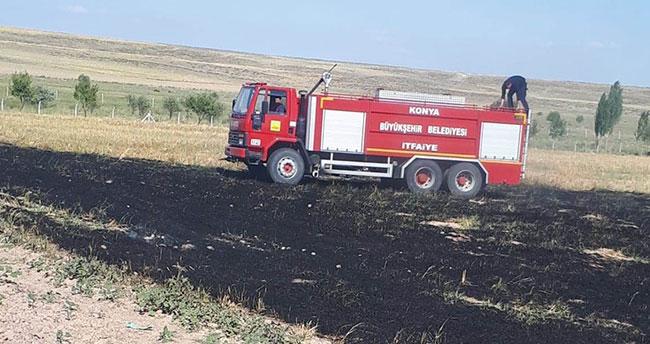 Konya'da çocukların yaktığı anız yangın çıkardı!