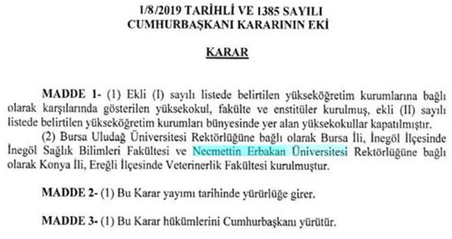 NEÜ'de Veterinerlik Fakültesi kuruldu