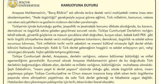 Selçuk Üniversitesinden Anayasa Mahkemesine tepki