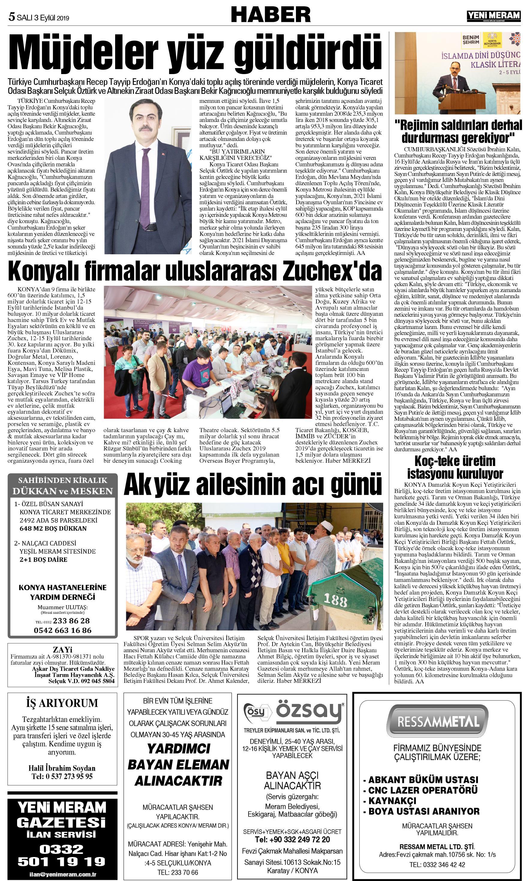 3 Eylul 2019 Yeni Meram Gazetesi Sayfa 4 11 Yeni Meram