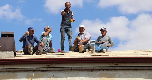 Çatıda yürekleri ağza getiren çalışma
