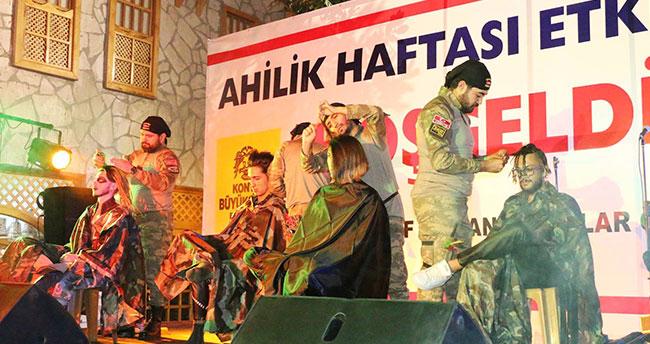 Konya'da obüs mermisi ve semazen şeklinde saç modeli yaptılar