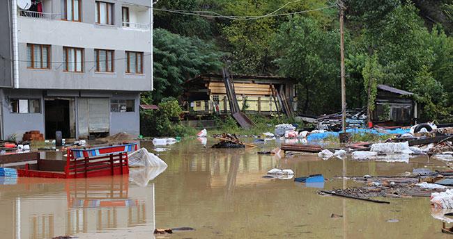 Artvin'in Borçka ilçesindeki sel bölgesi havadan görüntülendi
