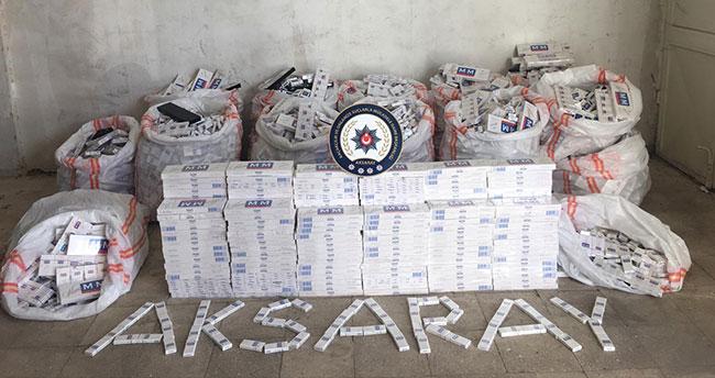 Aksaray'da 17 bin paket kaçak sigara ele geçirildi