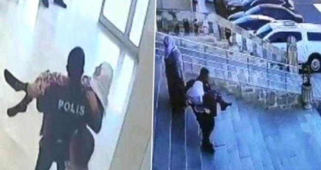 Mardin'de bir polis, yürümekte zorlanan 85 yaşındaki kadını kucağında taşıdı