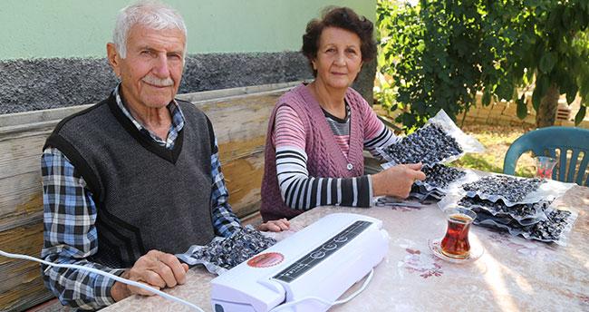 """Konya'da yaşayan çift """"hasarlı kirazları"""" kurutarak ekonomiye kazandırıyorlar"""