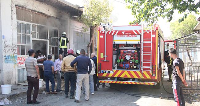 Karaman'da depoda yangın paniği