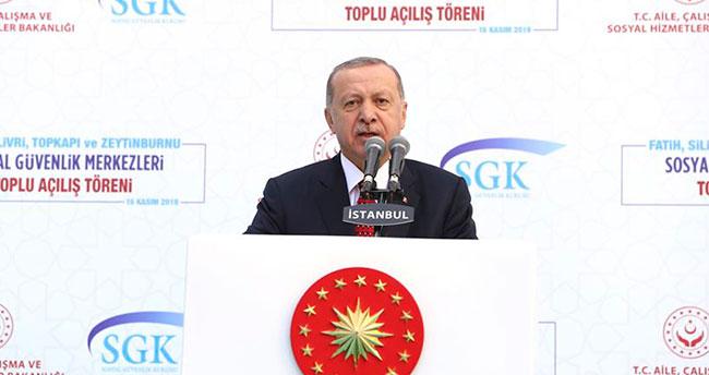 Cumhurbaşkanı Erdoğan sosyal güvenlik merkezleri toplu açılış töreninde konuştu