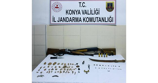 Konya'da 3 kişi 82 parça tarihi eserlerle yakaland