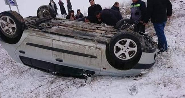 Konya'da otomobil şarampole devrildi: 1 yaralı