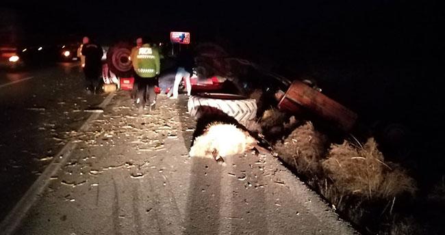 Konya'da tır ile traktör çarpıştı, koyunlar telef oldu