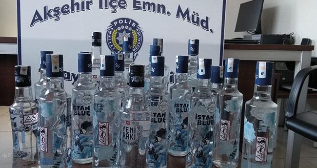 Konya'da kaçak içki operasyonu: 20 şişe kaçak alkol ele geçirildi