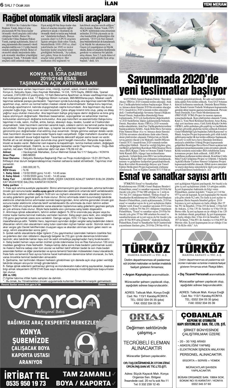 7 Ocak 2020 Yeni Meram Gazetesi Sayfa 6 12 Yeni Meram