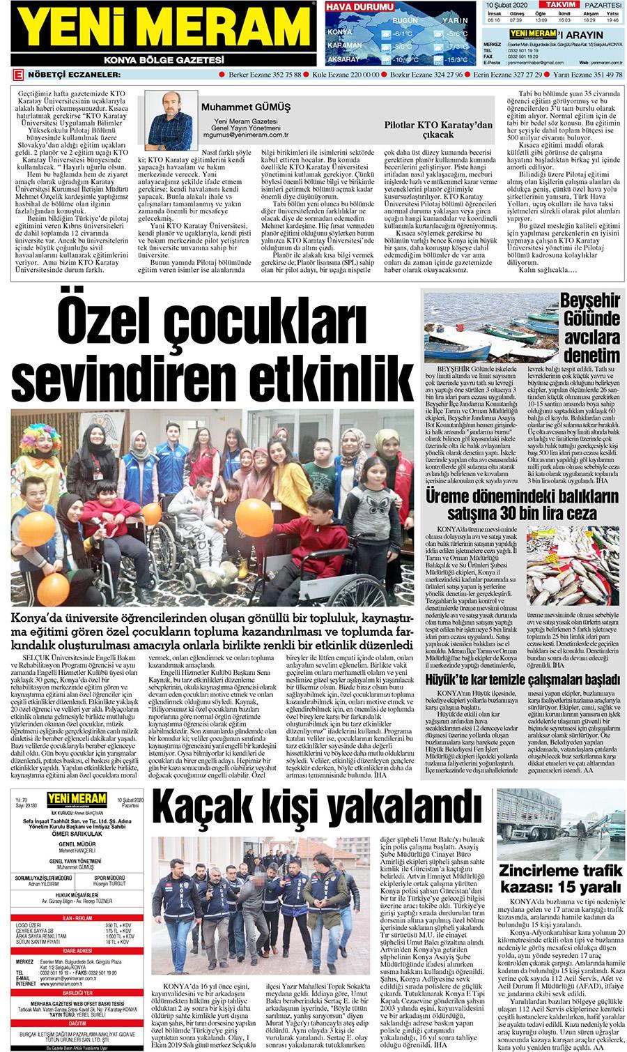 10 Subat 2020 Yeni Meram Gazetesi Sayfa 3 12 Yeni Meram