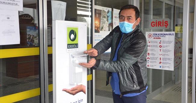 Ereğli'de dezenfektan platformları kuruldu