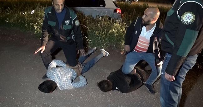 Aksaray'dan Konya yönüne kaçmaya çalışan şüpheli ile polisin kovalamacası sulama kanalında son buldu
