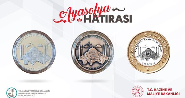 Bakan Albayrak paylaştı! İşte Ayasofya Camii için basılan özel para