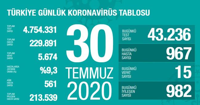 30 Temmuz koronavirüs tablosu! Vaka, ölü sayısı ve son durum açıklandı