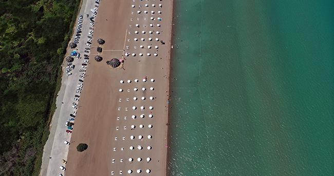 Konya'daki Karaburun Plajı'nda hafta sonu yoğunluğu