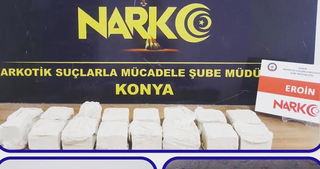 Konya'da durdurulan araçta 8 kilogram eroin ele geçirildi